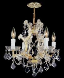 Gold finish Hand-cut Crystals 4-light Mini-chandelier