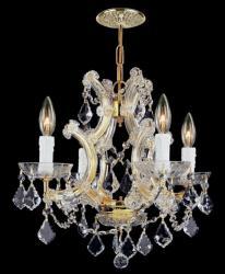 Gold finish Hand-cut Crystals 4-light Mini-chandelier
