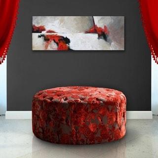 Red Velvet 36-inch Round Ottoman
