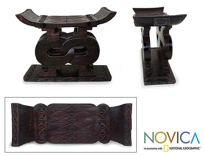 Wood 'Songhorn Lagoon' Throne Ottoman and End Table (Ghana)