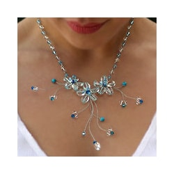Quartz Topaz and Reconstituted Turquoise 'Floral Cascade' Choker (Thailand)