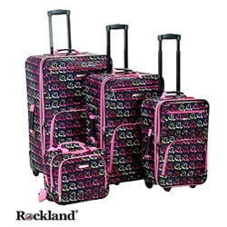 Rockland Hearts 4-piece Expandable Luggage Set