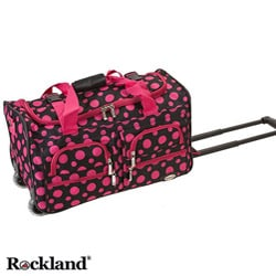 Rockland Black/Pink Dot 22-inch Carry On Rolling Upright Duffel Bag