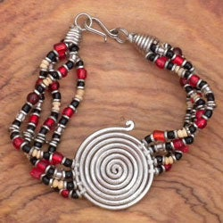Silvertone 'Progress' Spiral Beaded Bracelet (Kenya)