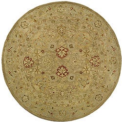 Handmade Majesty Light Brown/ Beige Wool Rug (6' Round)