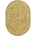 Handmade Majesty Light Brown/ Beige Wool Rug (7'6 x 9'6 Oval)