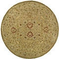 Handmade Majesty Light Brown/ Beige Wool Rug (8' Round)