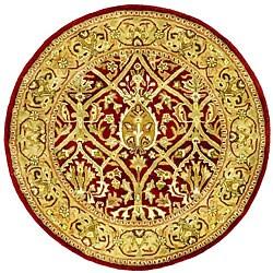 Safavieh Handmade Mahal Red/ Gold New Zealand Wool Rug (3'6 Round)