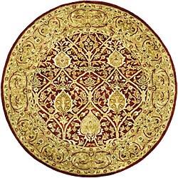 Safavieh Handmade Mahal Red/ Gold New Zealand Wool Rug (6' Round)