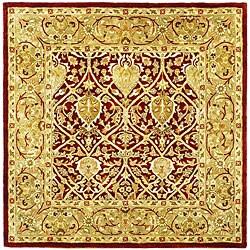 Safavieh Handmade Mahal Red/ Gold New Zealand Wool Rug (6' Square)