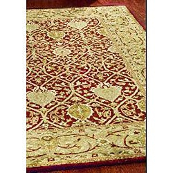 Handmade Mahal Red/ Gold New Zealand Wool Rug (8'3 x 11')