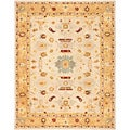 Handmade Tribal Ivory/ Gold Wool Rug (12' x 18')