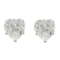 Tressa Sterling Silver Clear CZ Heart Stud Earrings