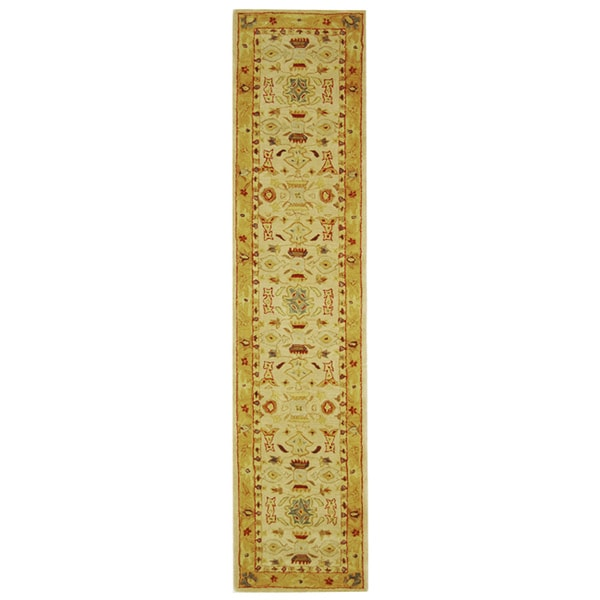 Safavieh Handmade Tribal Ivory/ Gold Wool Runner (2'3 x 16')