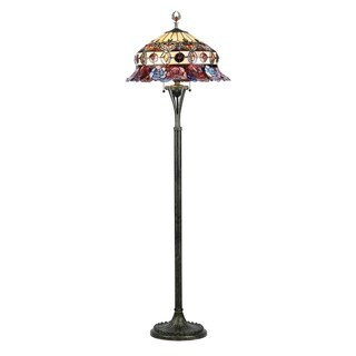 Tiffany-style Rose Design 3-light Bronze Floor Lamp