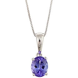 D'Yach 14k White Gold Tanzanite Necklace