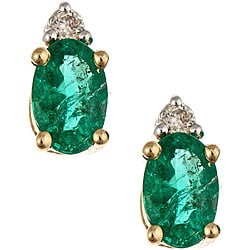 D'Yach 14k Gold Emerald and Diamond Stud Earrings