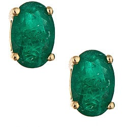 D'Yach 14k Yellow Gold Emerald Stud Earrings