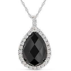 Miadora 10k Gold Onyx and White Topaz Necklace