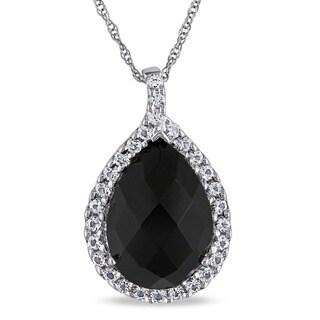 Miadora 10k Gold Onyx and White Topaz Necklace