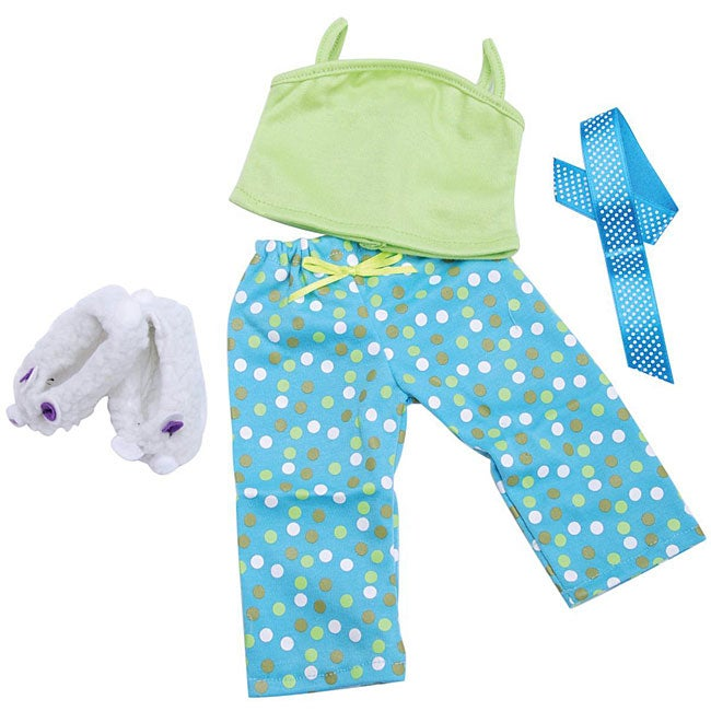 Springfield Collection Turquoise/ Green Polka Dot 18-inch Doll Pajama Set