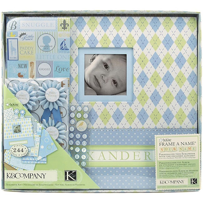 K&Company Little House Baby Boy 12x12 Postbound Scrapbook Kit