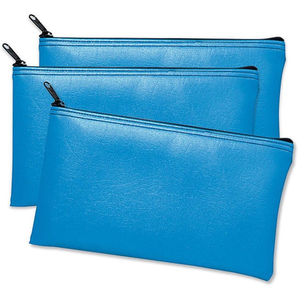 Leatherette Vinyl Blue Zippered Wallets (Pack of 3)