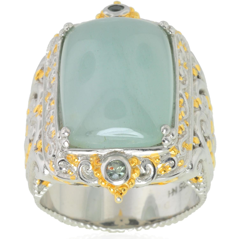 Michael Valitutti Silver/ Palladium/ 18k Vermeil Aquamarine/ Sapphire Ring