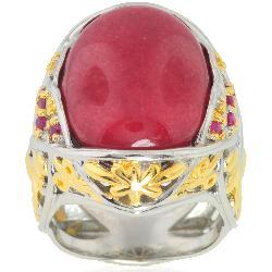Michael Valitutti Silver/ Palladium/ 18k Vermeil Red Jade/ Ruby Ring