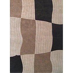 Hand-tufted Cameron Blocks Beige Wool Rug (8' x 10')