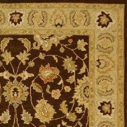 Indo Handmade Sumak Flatweave Brown/ Olive Rug (10' x 14')