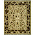 Indo Sumak Handmade Heirloom Ivory/ Brown Flatweave Rug (6' x 9')