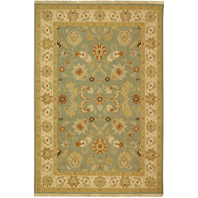 Indo Sumak Handmade Majesty Light Blue/ Beige Rug (4' x 6')