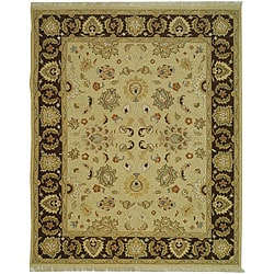 Indo Sumak Handmade Heirloom Ivory/ Brown Rug (9' x 12')