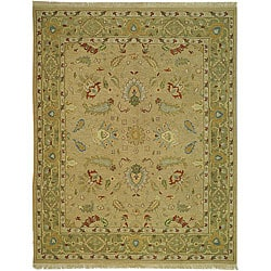 Indo Sumak Flatweave Treasure Taupe/ Green Wool Rug (9' x 12')