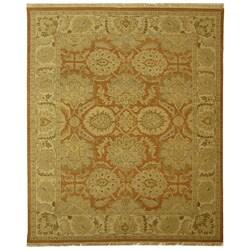 Indo Sumak Flatweave Ancestry Rust/ Beige Wool Rug (10' x 14')