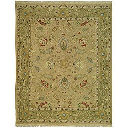Indo Handmade Sumak Flatweave Taupe/ Green Rug (6' x 9')