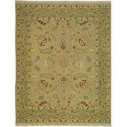 Indo Sumak Handmade Treasure Taupe/ Green Rug (8' x 10')