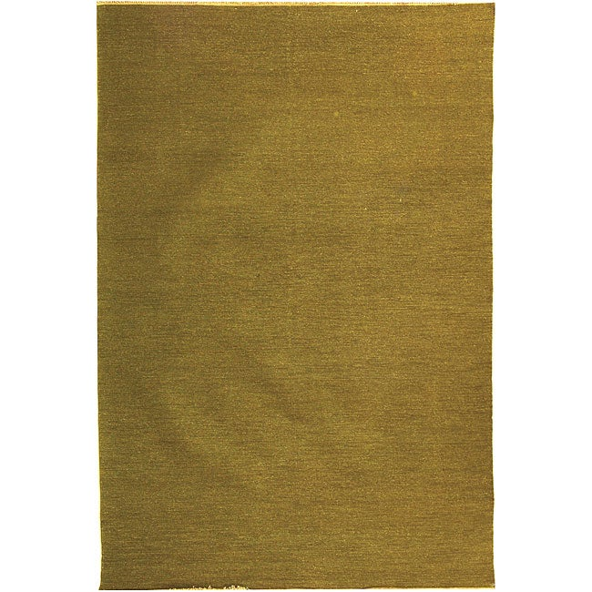 Indo Sumak Flatweave Solid Olive Rug (6' x 9')