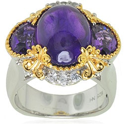 Michael Valitutti Palladium/ Silver/ 18k Vermeil Amethyst and White Sapphire Ring