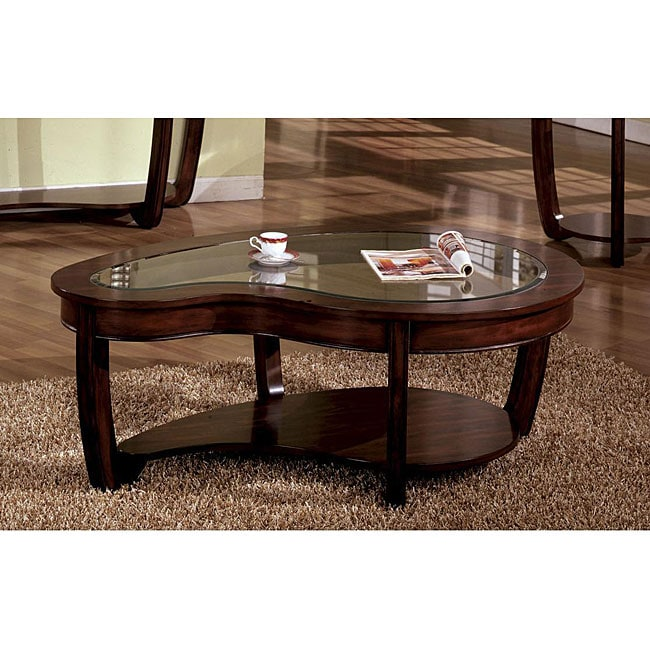 Dark Cherry Wooden Glass Top Modern Style Living Room Side Cocktail Coffee Table Ebay