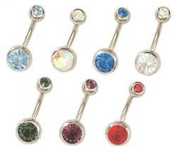 CGC Stainless Steel Double-jeweled Barbell Belly Ring