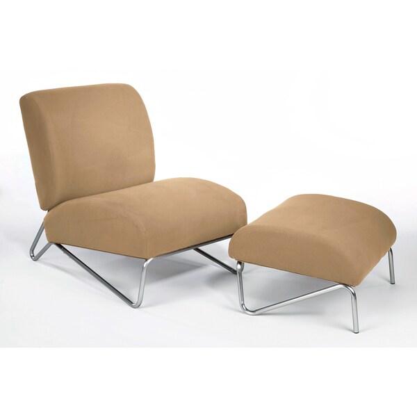 Microfiber Easy Rider Chair and Ottoman Khaki