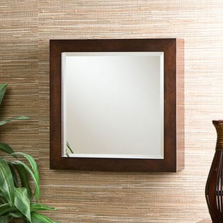 MDF Espresso Square Wall Mount Beveled Mirror Jewelry Armoire Wood Box