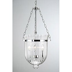 Chrome Finish Ribbed Glass Lantern Chandelier
