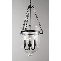 Antique Copper-Finish 60-Watt Glass Lantern Chandelier
