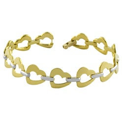 14k Two-tone Gold Open Heart Link Bracelet