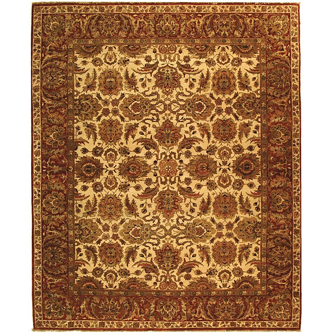 Heirloom Hand-knotted Hand-spun Wool Ivory/ Rust Rug (6' x 9')
