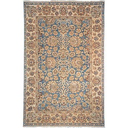 Heirloom Treasures Hand-knotted Blue/ Beige Wool Rug (9' x 12')