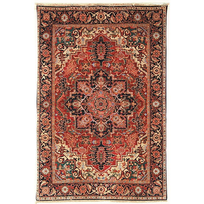 Heirloom Treasures Hand-knotted Red Wool Rug (6' x 9')